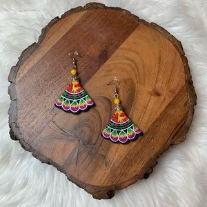 Yellow Floral Embroidered Earrings